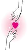 Manos y corazones rosados Fotos de archivo libres de regalías
