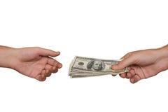 Manos y dinero fotografía de archivo