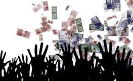 Manos y dinero Imágenes de archivo libres de regalías