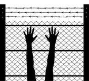 Manos y límite aumentados de la prisión del alambre de púas stock de ilustración