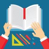 Manos y libro humanos - ejemplo del concepto de la educación en diseño plano del estilo Imágenes de archivo libres de regalías