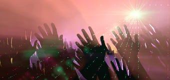 Manos y luces de la audiencia en el concierto stock de ilustración