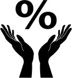 Manos y muestra de porcentaje que cuidan Foto de archivo libre de regalías