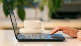 Manos y ordenador portátil femeninos almacen de metraje de vídeo