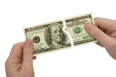 Manos y partes del billete de banco Imagen de archivo libre de regalías