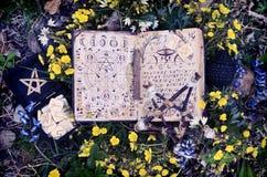 Manoscritto aperto con le fasi lunari della luna ed i simboli mistici fotografia stock
