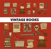 Manoscritto e manuali e piuma dei libri d'annata di storia vecchi royalty illustrazione gratis