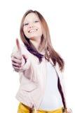 Manosee con los dedos encima de muestra de la mujer joven hermosa aislada Foto de archivo
