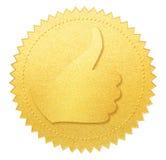 Manosee con los dedos encima del sello o de la medalla del papel del oro aislada Imágenes de archivo libres de regalías