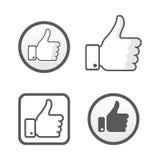 Manosee encima de, como sistema del vector de los iconos, la red con los dedos social ilustración del vector