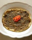Manouche, pizza del tomillo imagenes de archivo