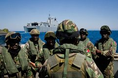 Spanish Navy conducts naval exercises royalty free stock photo