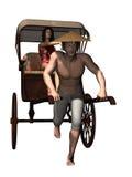 manpassagerare som drar rickshawen stock illustrationer