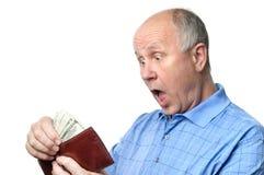 manpensionärplånbok Fotografering för Bildbyråer