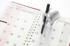 Manplanläggningen på kalender fotografering för bildbyråer