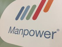 Manpower company logo. Berlin, Germany - January 24, 2018: Manpower logo. ManpowerGroup is a Fortune 500 American multinational corporation, the third-largest Royalty Free Stock Photo