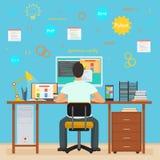 Manprogrammerarebaksida som arbetar på hans PCdator Programmera och kodifiera Inre programmerare för kontor med symboler stock illustrationer