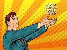 Manpromoen ditt märke går här stock illustrationer