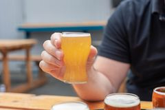 Manprovtagningöl på ett mest brewfest arkivfoton