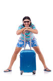 Manresande med isolerade resväskor Royaltyfria Bilder