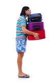Manresande med isolerade resväskor Fotografering för Bildbyråer
