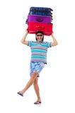 Manresande med isolerade resväskor Royaltyfri Bild