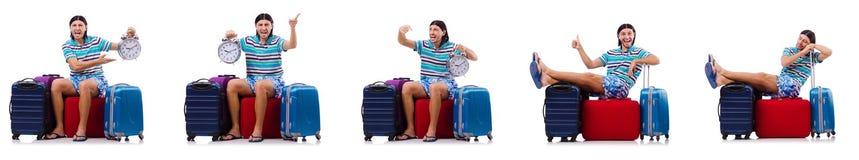 Manresanden med resväskor som isoleras på vit arkivbilder