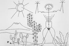 Manriques Kunst in Jardin de Cactus Lizenzfreie Stockbilder