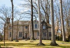 Mansão do tijolo nas árvores com telhado de ardósia imagens de stock royalty free