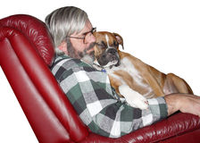 Mans Best Friend. A man sleeping with his best friend Royalty Free Stock Photography