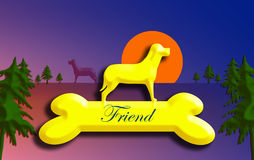Mans best friend. Trophy like Dog silhouette standing on bone Stock Photo