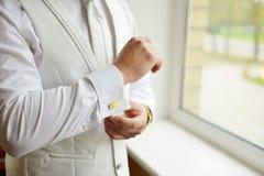 Mans cufflinks Fotografering för Bildbyråer
