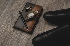 Mans different accessories and notepad Stock Image