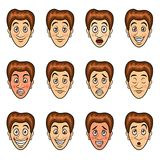 Mans emotions cartoon vector set Stock Photography
