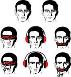 Mans face in different versions Stock Images