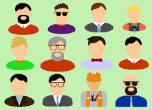 The mans face made the front. Different variations of male persons, made in full-face Royalty Free Illustration