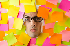 Mans face through reminders Stock Photography