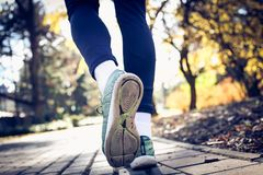 Mans feet running. Close up. Young sporty man walking trough park Stock Image