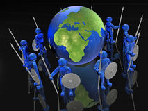 Mans with globe. Blue armed mans with globe on black background, 3D illustration Royalty Free Stock Photo
