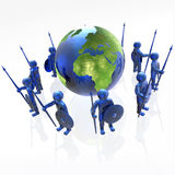 Mans with globe. Blue armed mans with globe on white background, 3D illustration Stock Images