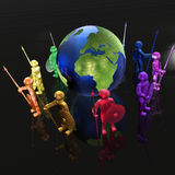 Mans with globe. Color armed mans with globe on black background, 3D illustration Stock Images