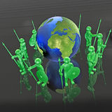 Mans with globe. Green armed mans with globe on white background, 3D illustration Stock Photos