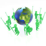 Mans with globe. Green armed mans with globe on white background, 3D illustration Royalty Free Stock Images