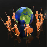 Mans with globe. Orange armed mans with globe on black background, 3D illustration Royalty Free Stock Photography
