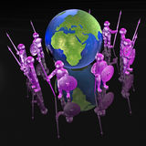 Mans with globe. Purple armed mans with globe on black background, 3D illustration Royalty Free Stock Photos