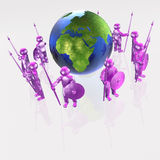 Mans with globe. Purple armed mans with globe on white background, 3D illustration Royalty Free Stock Photos