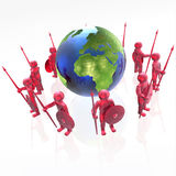 Mans with globe. Red armed mans with globe on white background, 3D illustration Royalty Free Stock Images