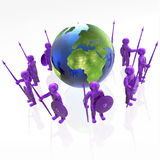 Mans with globe. Violet armed mans with globe on white background, 3D illustration Royalty Free Stock Photography