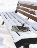 Mans gloves on the winter bench Stock Image