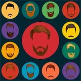 Mans håruppsättningen av skägg och mustaschvektorn Skägg och hår för Hipsterstilmode isolerade illustrationen vektor illustrationer